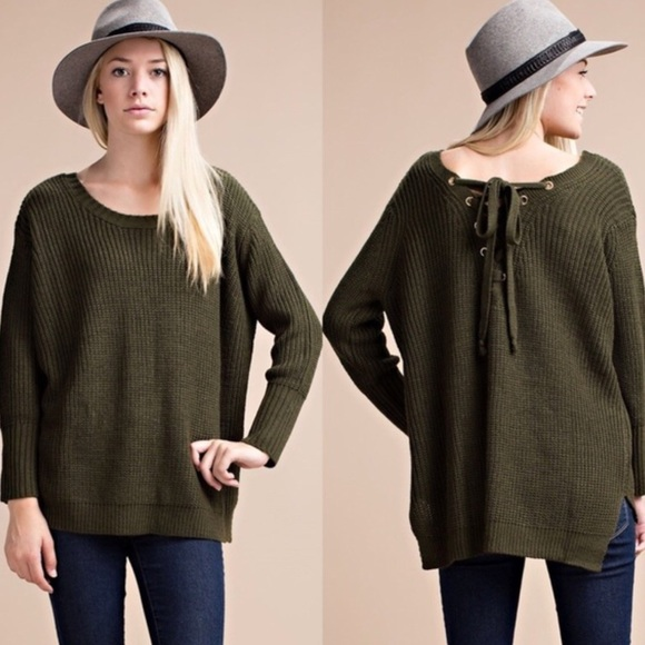 JV Boutique Sweaters - Olive Back Lace Up Chunky Sweater